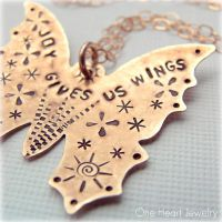 studio1world bahai inspired art - Joy Gives Us Wings Metalwork Necklace